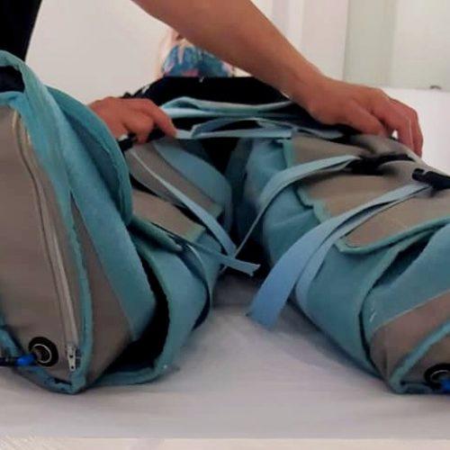 Botas de presoterapia aplicadas en una paciente